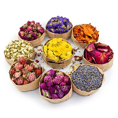 Miw Piw Natural Dried Flower- Gift Box - Floral Kit for Soap, Candle, Resin Jewelry Making, Bath, Nail, Decoration - Rosepetals, Rosebuds, Lavender, Jasmine, Gomphrena, Chrysantherum