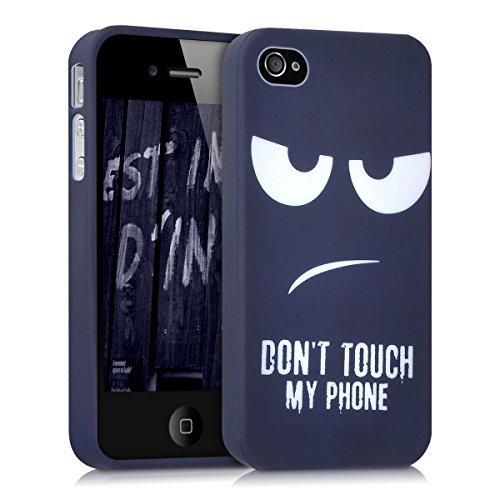 kwmobile Hülle kompatibel mit Apple iPhone 4 / 4S - Handyhülle - Handy Case Don't Touch My Phone Weiß Dunkelblau