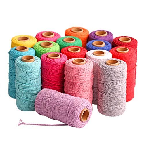 VWsiouev - Cuerda de algodón (00 m de largo/100 yardas, algodón puro, para colgar en la pared, cuerda para atrapasueños, cuerda de cuerda, perchas para plantas, artesanías, proyectos decorativos (S)