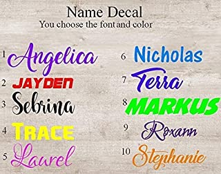 Name Decal. Choose the color and font. 1 inch tall. Perfect for wine glasses, computer case, water bottle, etc. Purchase additional decals using the drop down menu and SAVE!