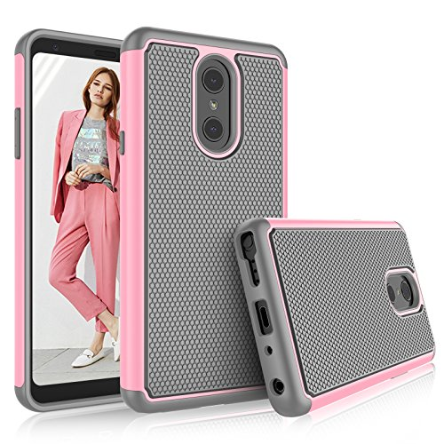 Tekcoo Compatible for LG Stylo 4 Case / 2018 LG Q Stylus Case for Girls, [Tmajor] Shock Absorbing [Baby Pink] Hybrid Rubber Silicone Plastic Scratch Resistant Bumper Grip Cute Sturdy Hard Cases Cover