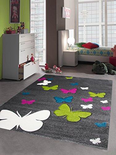 Kinderteppich Spielteppich Kinderzimmer Teppich Schmetterling Design mit Konturenschnitt Grau Pink Türkis Grün Creme Größe 120x170 cm