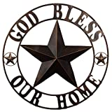 EBEI 31.5' Large Metal Barn Star Western Home Wall Decor Vintage Circle Dark Brown Texas Lone Star with Letters Welcome