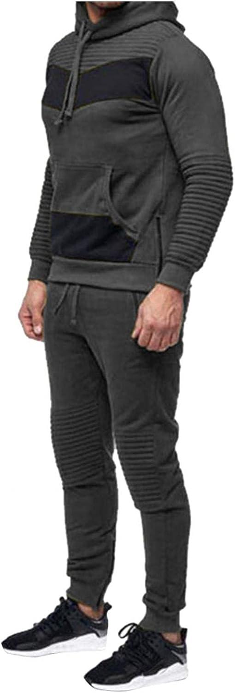 XUNFUN Men's Tracksuits 2 Piece Sports Wear Outfits Set Athletic Jogging Suit Patchwork Hoodie Sweatshirts Jogger Sweatpants