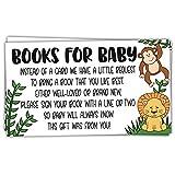 50 Safari Jungle Animals Books for Baby Shower Request Cards - Invitation Inserts - Gender Neutral
