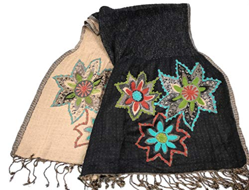 COOL TRADE WINDS LADIES REVERSIBLE EMBROIDERED FLOWER SCARF: mooie contrasterende kleuren die passen bij vele outfits of winterjassen - 200cm lang x 70cm breed
