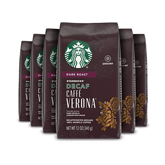 Starbucks Decaf Ground Coffee — Decaf Caffè Verona — 100% Arabica — 6 bags (12 oz.) 1 Decaf Caffè Verona coffee is well-balanced and rich with a dark cocoa texture While the look of the package has changed, this is still the same great-tasting Starbucks coffee you know and love Enjoy the Starbucks coffee you love without leaving the house