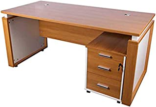 Mahmayi Zelda Modern Workstation Desk, 75 x 75 x 160 cm, Light Walnut/White, ZHM191-16