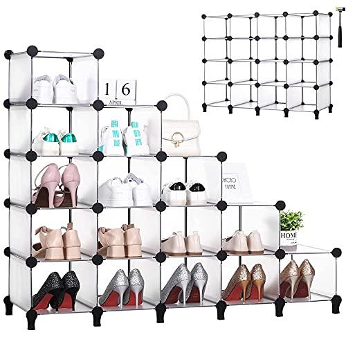 ANWBROAD 15-cube Stepwise Shoe Rack spazio risparmio scarpa Organizzatore plastica armadio modulare per camera da letto armadio corridoio Entryway 115,5 × 36,6 × 93,3cm bianco LCS16TX