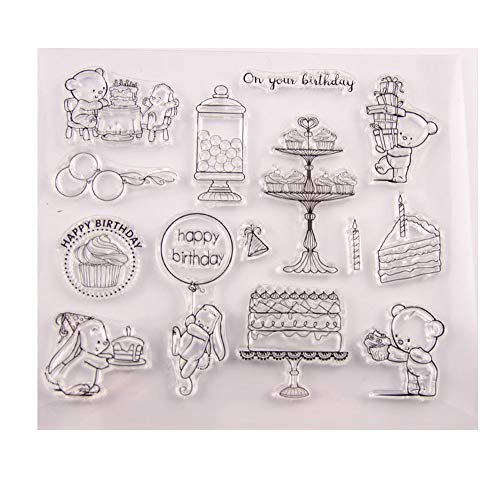Happy Birthday Bear Bunny Cake Gifts Stamp Rubber Clear Stamp/Seal Scrapbook/Photo Album Decorative Card Making Clear Stamps