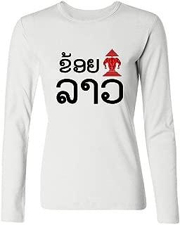 Tommery Women's Erawan Lao Fun Long Sleeve Cotton T Shirt