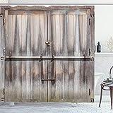 ABAKUHAUS Rústico Cortina de Baño, Puerta de Madera de Roble País, Material Resistente al Agua Durable Estampa Digital, 175 x 200 cm, marrón