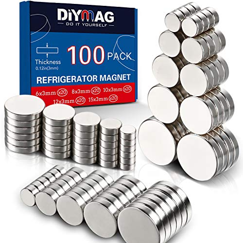 DIYMAG 3MM-MIX 100 Piece Refrigerator Magnets for Office, Hobbies, Crafts and Science, Round Ceramic Industrial Ferrite Magnets, Push Pin Magnets, Fridge Magnets, Whiteboard Magnets