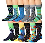 James Fiallo Mens 12-Pairs Funny Funky Crazy Novelty Colorful Patterned Dress Socks (Chevron, Stripes & Splash Patterns)