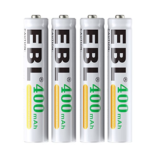 EBL AAAA Batteries, 1.2V 400mAh Ni-MH AAAA Rechargeable Batteries for Surface Pen, 4-Pack