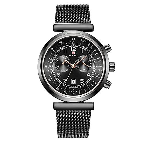 ZHUANYIYI Hombre Negocios Ocio Deportes Calendario Cronógrafo 30M Impermeable Reloj De Cuarzo De Moda Precisión Escala Digital Acero Inoxidable Cinturón De Malla Reloj