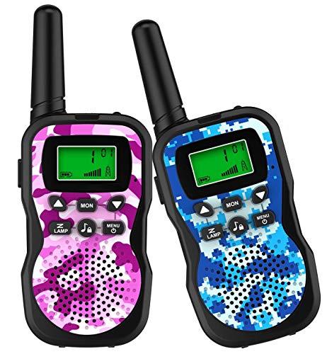 GlobalCrown Walkie Talkie per Bambini a 3 KM Lunga Portata,8 canali Radio Ricetrasmittenti Portatili per Bambini con Torcia LED per Giochi di Avventura all'Esterno (comprende 2 ricetrasmittenti)