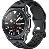 Rubinom Compatible for Samsung Galaxy Watch 3 Bands 45mm/Galaxy Watch 46mm/Gear S3 Frontier/Classic Watch, 22mm Watch Band Quick Release Silicone Breathable Wristband for Men, Anthracite/Black, Large