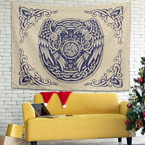 Tapiz gótico de cuervos vikingos – para cubrir el sofá o la playa de la sábana blanca 149,9 x 129,5 cm