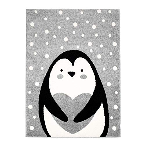 MyShop24h - Alfombra infantil para habitación de los niños, diseño de pingüino, color blanco con lunares, color rosa, beige y gris, tamaño en cm: 140 x 200 cm, color gris