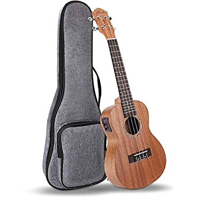 Electric Concert Ukulele Ranch EQ 23 inch Mahogany Solid Top Professional Ukuleles Upgraded Instrument with Free Online 12 Lessons and Gig Bag – Natural