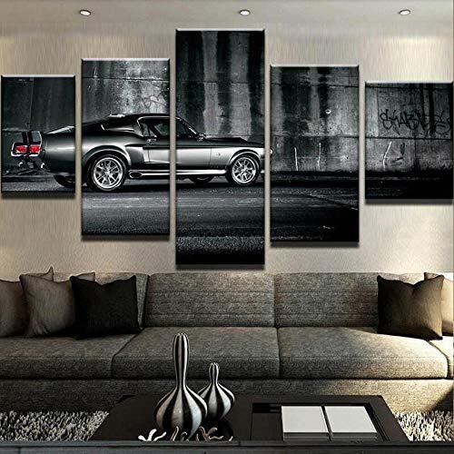 IIIUHU Stampa su Tela Moderna Quadri su Tela Quadro su Tela 5 Pezzi Ford Mustang Eleanor Auto 5 Quadri su Tela Camera da Letto Quadri Moderni multipannello Grande Soggiorno Decorazione