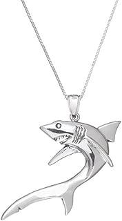 SURANO DESIGN JEWELRY Sterling Silver Shark Pendant, Made in USA, 18