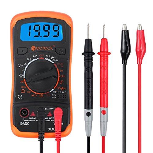 Neoteck Multimetro Digitale   Mini Multimetro Tester Misuratore Digitale Manual Range Test DMM DC Corrente AC DC Voltaggio Resistenza con LCD Retroilluminazione - Colore Arancione