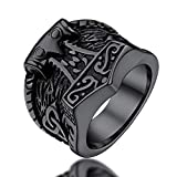 FaithHeart Mjolnir Anillo Martillo Thor Símbolo Vikingo Escandinavo Anillo Negro Acero Inoxidable 316L Talla 8 Joyería Retro de Dedos Anillo Ancho Hip Hop