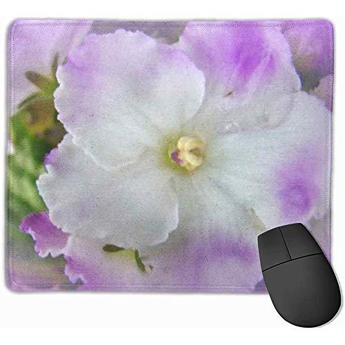 Nettes Gaming-Mauspad, Schreibtisch-Mauspad, Maus-Matte Violett-Lila und weiße ausgefallene afrikanische Zimmerpflanzen-Blumenblumen