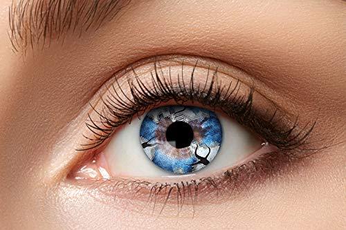 Zoelibat Farbige Kontaktlinsen für 12 Monate, Spook, 2 Stück, BC 8.6 mm / DIA 14.5 mm, Jahreslinsen in Markenqualität für Halloween, Fasching, Karneval, blau/grau