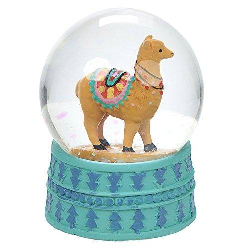 Schneekugel Lama / Alpaka 8,5 cm hoch, 6 cm Durchmesser, Glas und Polyresin, türkisfarbener Sockel mit blauem Muster, Schönes Mitbringsel oder Wichtelgeschenk. Für Lama-Fans!, Farbe:hellbraun