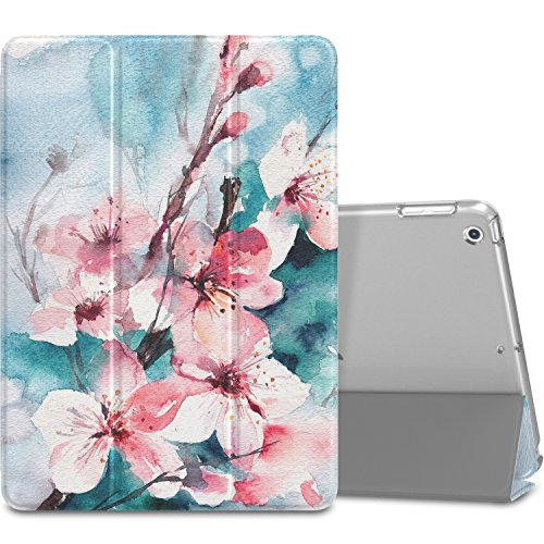 MoKo Case Fit 2018/2017 iPad 9.7 5th / 6th Generation, Slim Lightweight Smart Shell Stand Cover Translucent Frosted Back Protector Fit iPad 9.7 Inch 2018/2017, Peach Blossom(Auto Wake/Sleep)