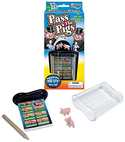Big Game Toys~Classic Pass The Pigs Party Game Pig Sty Dice Cup Cards case