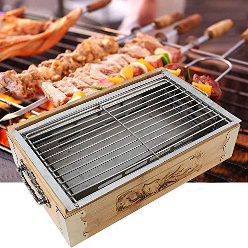 Atyhao Hogar Parrilla de Barbacoa al Aire Libre Herramientas de Cocina portátiles de Barbacoa Cuadrada Bandeja de Horno de carbón Cestas de Parrilla