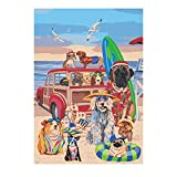 Ginkko Paint by Numbers for Adults Kids Beginners Easy Acrylic on Canvas 16x20 inch with Paints and Brushes, Dog Beach Surfing(Without Frame)