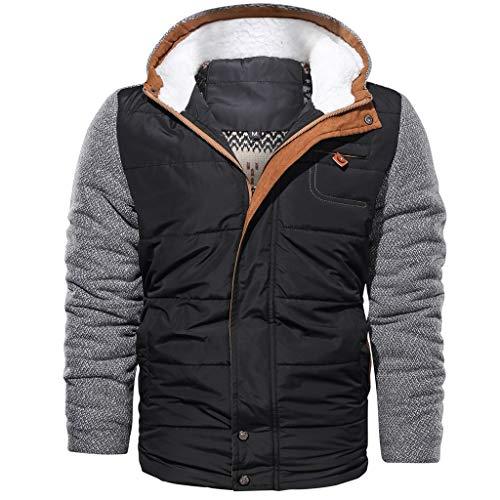 Herren Daunenjacke Warm Baumwolljacke Herbst Winter Patchwork Reißverschluss Lose Outdoor Fleece Mantel CICIYONER