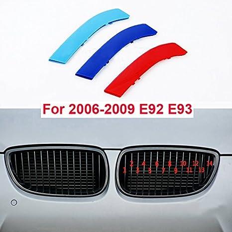 carado Front Grille Grill Cover for BMW 3 Series E90 E91 2009-2012 M Color Insert Trim Clips 3Pcs 12 Grilles