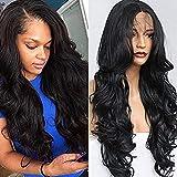 wig Lange Körperwelle Haar Schwarz Farbe Synthetische Lace Front Perücken Natürlichen Haaransatz Baby Haar Synthetische Lace Front Perücken Für Schönheit,16Inches