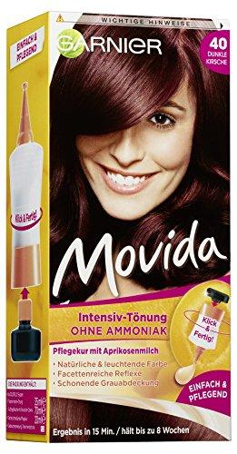 Garnier Tönung Movida Pflege-Creme / Intensiv-Tönung Haarfarbe 40 Dunkle Kirsche (für leuchtende Farben, auch für graues Haar, ohne Ammoniak) 3er Pack Haarcoloration-Set