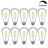 LED Edison Bulb Dimmable, Daylight White 5000K, 60W Equivalent, 6W, 800 Lumens High Brightness, ST64 Vintage Filament Light Bulb, LED Antique Bulbs, CRI 90+, E26 Medium Base, Pack of 10