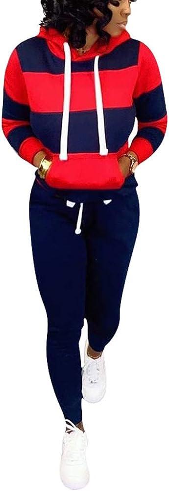 Women's 2 Piece Outfits Plus Size 現品 Sk Sleeve 人気海外一番 Long Stripe Hoodie