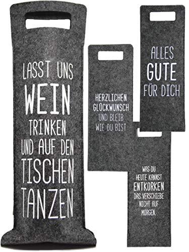 Bada Bing 4er Set Geschenkverpackung Wein Filz Mit Spruch Flaschenverpackung Flaschentasche Tasche Für Weinflasche Gift Package Geschenktasche 54 TT