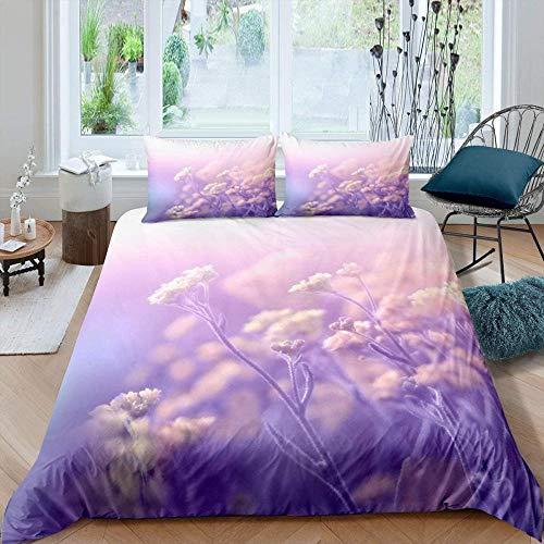 Evvaceo Child Duvet Cover Pillowcase 3D Purple Fantasy Flower Plant 220 Cm X 260 Cm 3-Piece Set Boy Girl 3D Printing Bed Linings Superfine Fiber- Breathable- Super Soft- Hypoallergenic- Z(Super King)