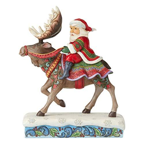 Jim Shore Heartwood Creek Babbo Natale a Cavallo dell'Alce, 23 cm