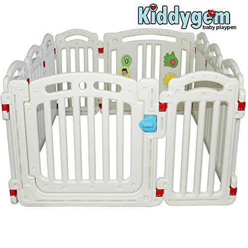 Kiddygem M7 Baby Playpen Playard, White, Extra Tall