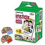 FujiFilm Instax Mini Instant Film 1 Pack - 20 Photo Sheets + 60 Assorted Colorful Mini Photo Stickers - for FujiFilm Instax Mini 11, 9 and 8 Camera, Fuji Mini Link, SP-1, SP-2, Polaroid Film