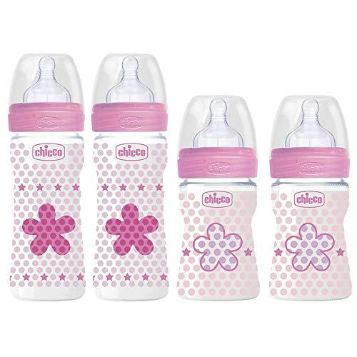 Chicco - Juego de 4 biberones anticólicos para bebés (desde el nacimiento hasta 6 meses), color rosa