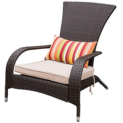 Sundale Outdoor Deluxe Wicker Adirondack Chair Outdoor Patio Yard Furniture All-Weather Lounge Chair with Cushion and Pillow