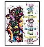 Black Art - Positive Affirmations - African American Women, Girls, Woman, Uplifting Inspiring Quotes - Encouragement Gifts - Afro American Wall Art - Motivational Poster 8x10- Inspirational Wall Decor